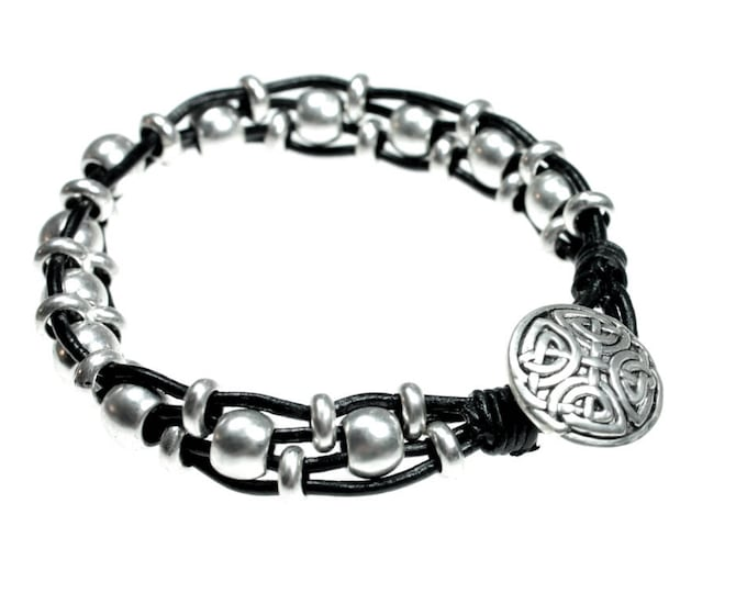 Celtic Design Black Leather Beaded Bracelet Woven with Silver Plated Beads and A Beautiful Celtic Knot Design Button Clasp