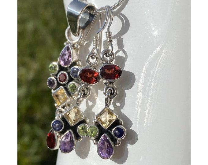 Amethyst, Garnet, Peridot, Citrine, Iolite, Gemstone Earrings, Pendant , Set Sterling Silver, Birthstone Gemstones Mix Hand-crafted Jewelry