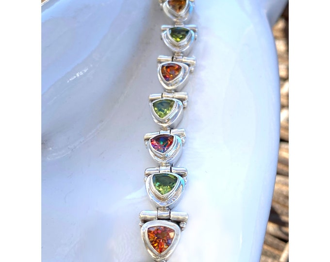 Trillion-Cut Mystic Topaz Sunrise Orange Fire and Peridot Gemstone Bracelet in 925 Sterling Silver from Beautiful Silver Jewelry