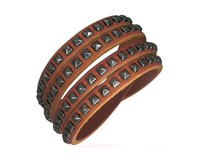 Leather Bracelet, Quality Leather Multi Strand Snap Adjustable Boho Wrap Cuff Men, Women, Teens, Layer With Other Bracelets for Latest Look