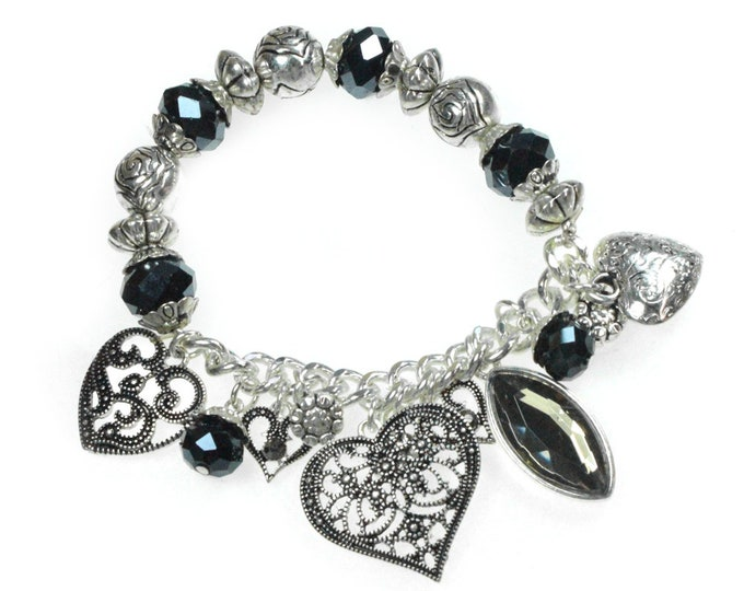 Heart Charm Beaded Bracelet, Beautiful Stretch Bangle Bracelet with Dangling Charms, Free Shipping from California