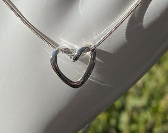 Floating Heart Sterling Silver Pendant - with Your Choice of Complimentary Snake Necklace Chain