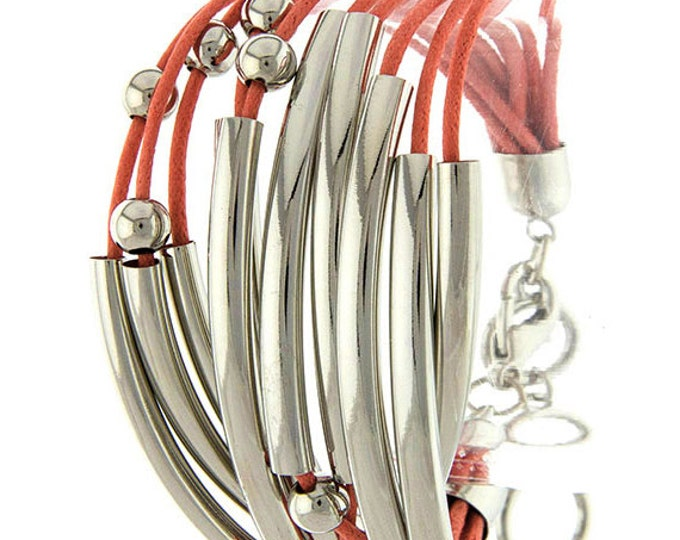 Coral Pink High Polish Silver Plated Tube Multi Strand Bracelet