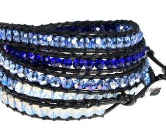 "Ocean Blue Crystal Faceted Bead Leather Wrap Bracelet , 39"" Fits Up to Plus Sizes Too - Exclusively from Beautiful Silver Jewelry"