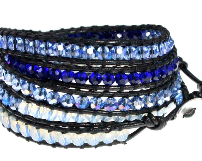 "Black Leather 5x Wrap Bracelet with Shades of Ocean Blue Crystal Faceted Beads, Quality Bracelet Design Extra Long 39"" Fits Up To Plus Sizes"