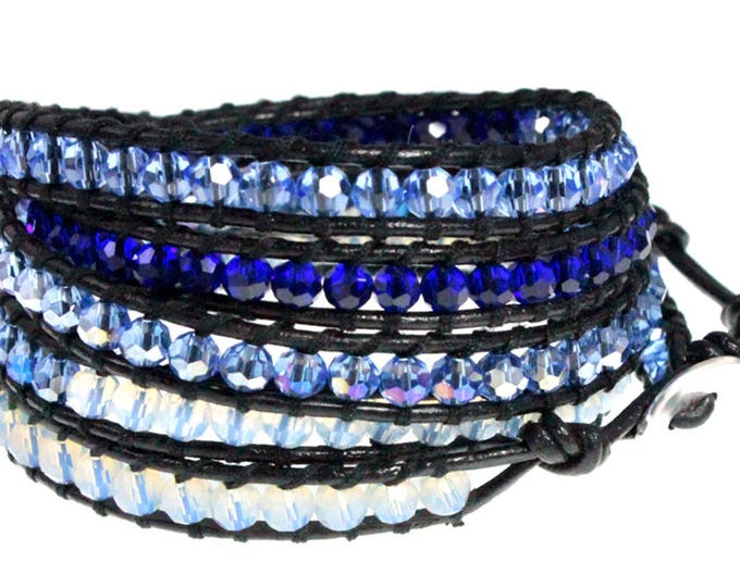 Ocean Blue Crystal Multi Color Beads 5x Wrap Bracelet is Hand Sewn Quality Crafted on Genuine Black Leather Wraps 5x Five Times Around Wrist
