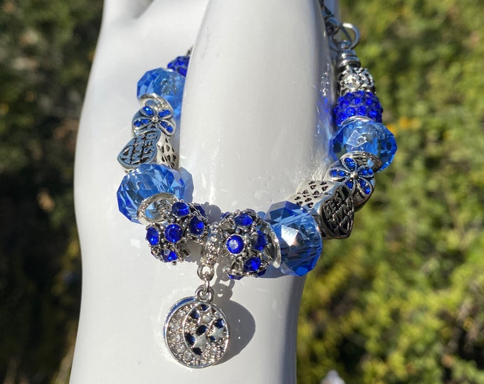 BEST MOM Blue Crystal Charm European Charm Bracelet on Snake Chain with Adjustable  Clasp - Changeable Bead Large Hole DYI Bracelet