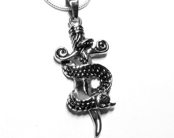 Entwined Snake and Sword Large Stainless Steel Pendant on 2mm 22 inch Snake Chain Jewelry for Men, Women, Teenager