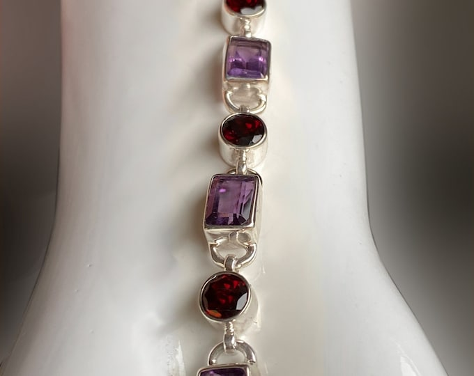 Emerald-Cut Amethyst and Round Garnet Bracelet Sterling Silver Hand Crafted Bracelet or Jewelry Set in January and February Birthstones