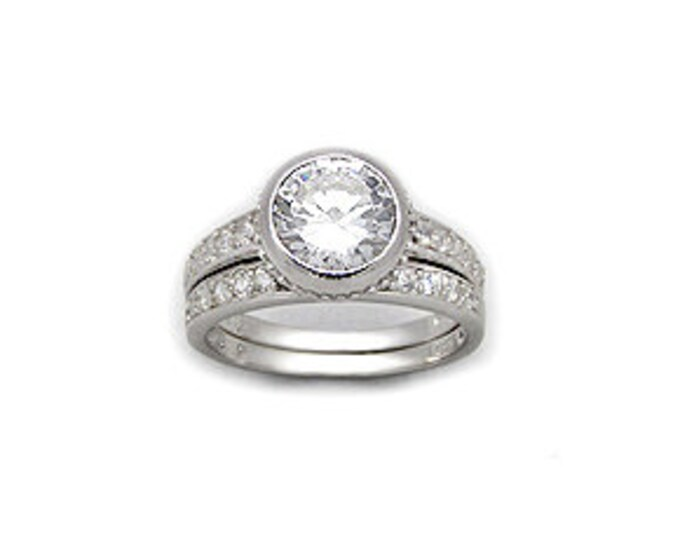 Sterling Silver 2 carat Round White Brilliant CZ Cubic Zirconia Double Ring Set in Size 8 - Band and Wedding Ring with 2 Carat Stone