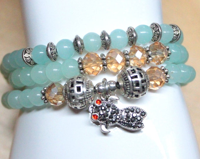Teal Blue Blue Agate Bead and Crystal Fish Charm 3x Wrap Bracelet And Necklace - Koi Fish Jewelry - Unique Wrap Bracelet