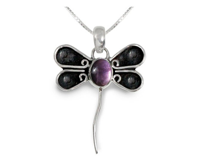 Amethyst Dragonfly Design Sterling Silver Pendant - Nature Inspired Jewelry February Birthstone - 16, 18 or 20 inch Necklace Chain Included