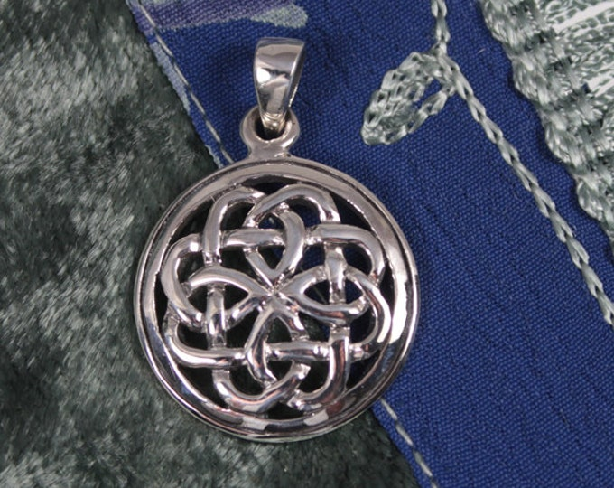 Celtic Pendant Necklace Sterling Silver Round Everlasting Knot Irish Jewelry for Men or Women