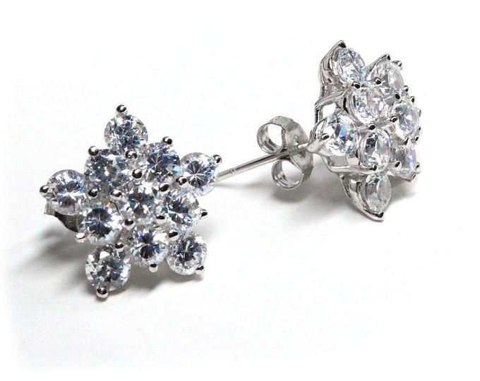 Brilliant Cubic Zirconia Starburst Post Earrings