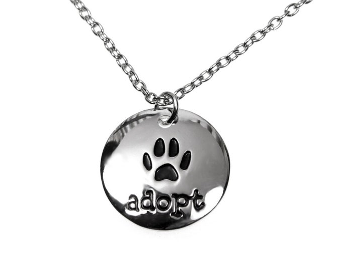 ADOPT Rescue Pet Necklace on 18 inch Chain with Extender in Gift Box. Perfect Gift for Dog, Cat, Pet Rescue Owners, Mom and Dad