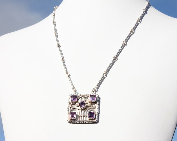 Handmade Amethyst Pendant Necklace and Freshwater Pearls w Unique Handcrafted Link Chain, February, June Birthstones, Exclusively from BSJ