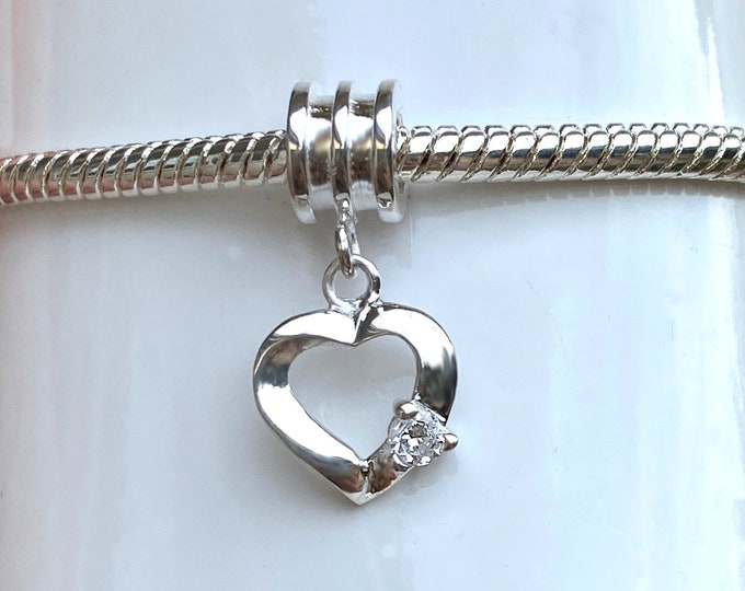 Sterling Silver Heart Charm - European Bracelet Style Slide On Charm with Darling Heart and CZ for Bracelet and Necklace