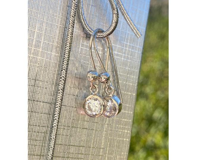 1 CT each Cubic Zirconia Dangle Earrings on Handmade 925 Sterling Silver Ear wires - (2 CTTW) - 2 carats total weight drop earrings