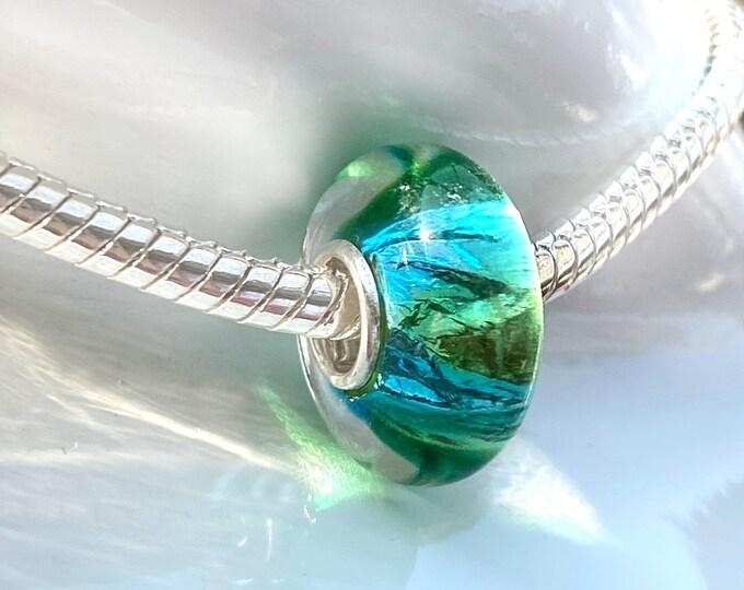 Iridescent Blue Green Artisan Glass Bead Charm - 925 Sterling Silver Slide On Bead For European Snake Chain Charm Bracelets - Save on More