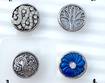 Crystal Swirl, Tree, Ornate Garden, Blue Flower SNAP snap button jewelry charms - chunk buttons - ginger snap jewelry for jewelry making