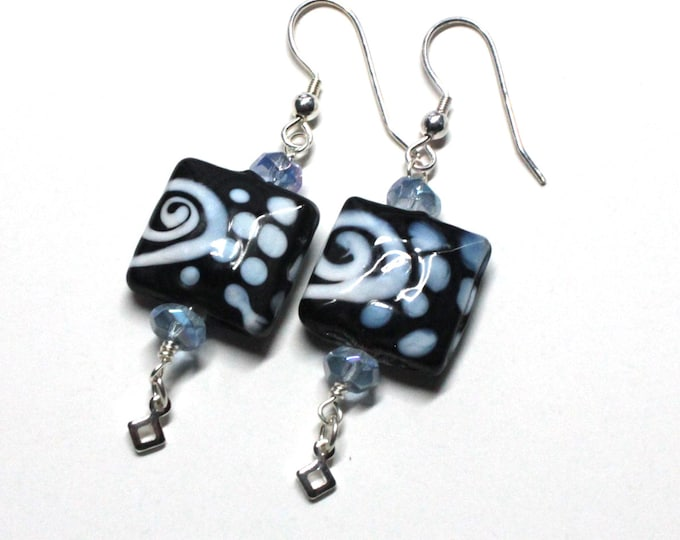 Turquoise Blue and Black Ceramic Swirl Bead Dangle Earrings Sterling Silver for Women, Teens, Exclusively from Beautiful Silver Jewelry