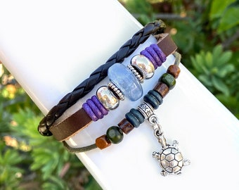 Turtle Leather Bracelet Quality Hand Made Beaded 3 Strand Wrap Bracelet, Men, Teenager, Boys, Girls, Women, Adjustable Drawstrings, Gift Box