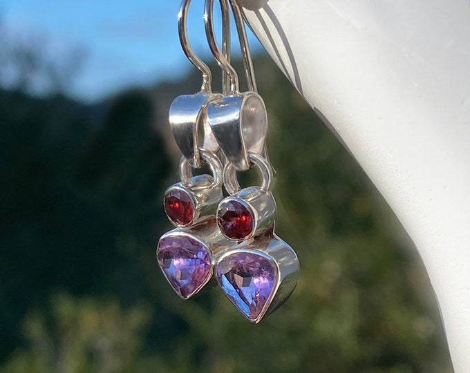 Trillion-Cut Amethyst & Round Garnet Sterling Silver Earrings, February (Amethyst) and January (Garnet) Birthstone Dangle Earrings