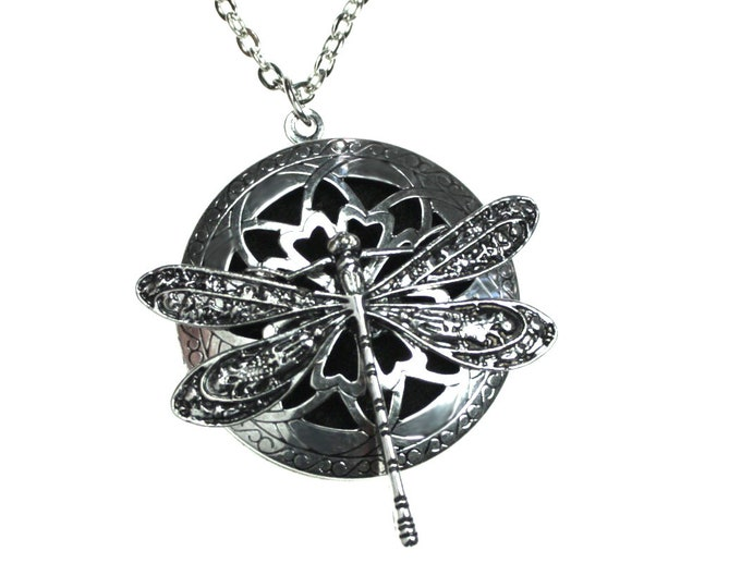 "Dragonfly Necklace Aromatherapy Diffuser Necklace, Essential Oil Necklace, Diffuser Necklace, Locket Necklace, with TWO CHAINS 24"" and 29"""""