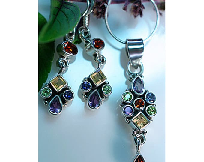 Amethyst, Garnet, Peridot, Citrine, Iolite Multi Gemstone Earrings and Pendant or Set 925 Sterling Silver - Ships FREE (from California)