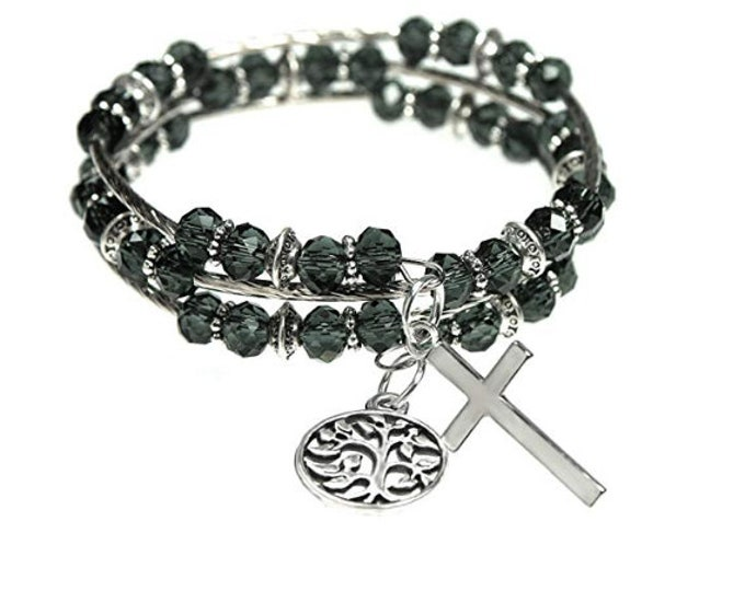 Cross and Tree of Life Charms Sparkling Faceted Dark Gray Glass Bead 3x Wrap Bangle Charm Bracelet, Holiday, Christmas Charm Bracelet