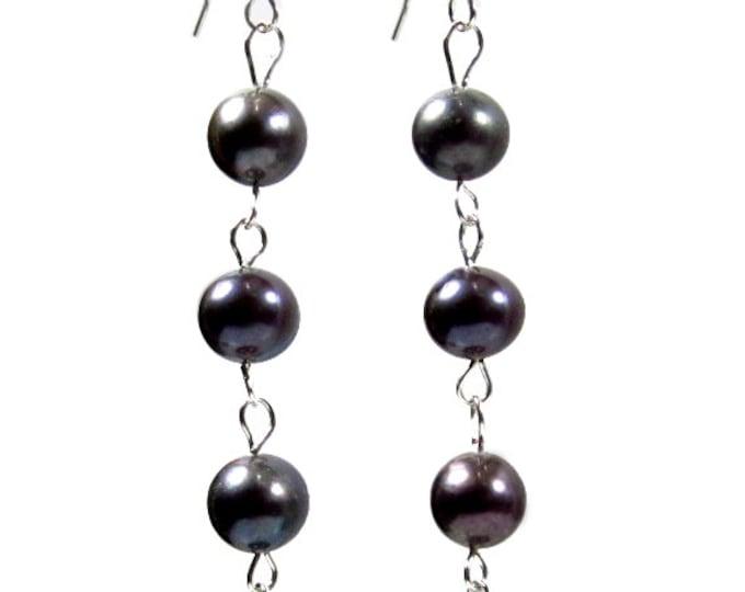 Freshwater Black Pearl 2.75 Inch Long Sterling Silver Earwire Earrings