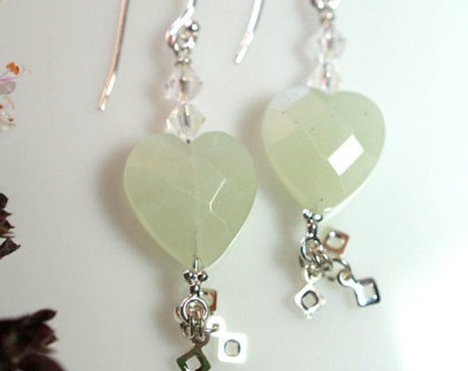 Sterling Silver Heart Shaped Pale Green Agate Gemstone Dangle Earrings, Exclusively from Beautiful Silver Jewelry