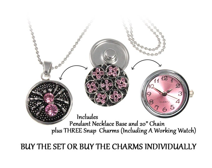Pink Crystal and Pink Watch Snap In Necklace SET OR buy snap charms individually - chunk buttons - ginger snaps - noosa button snap jewelry