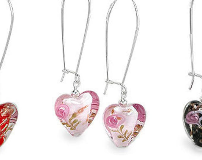 Lampwork Glass Heart and Rose Sterling Silver Long Earwire Earrings - Choose Red, Pink or Black Glass Hearts - Pretty and Unique Earrings