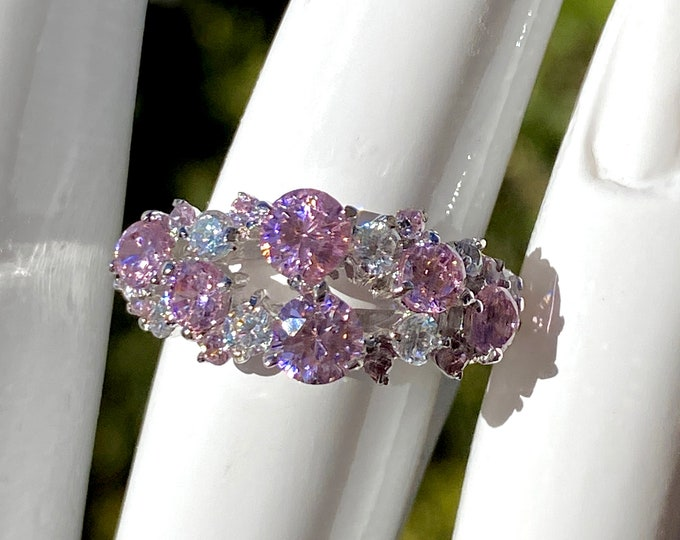 Pink and White Cubic Zirconia Brilliant Sparkling CZ Ring 925 Sterling Silver