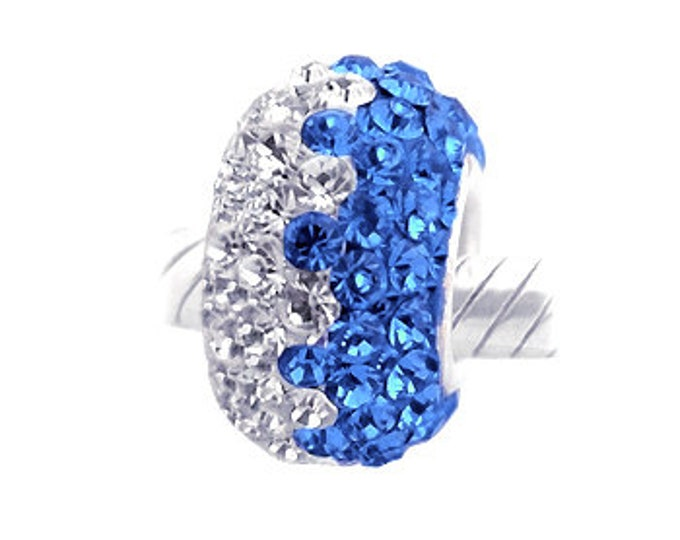 Sterling Silver Crystal Blue and White Wave Bead Charm - 925 Sterling Silver Style Slide On Bead For European Snake Chain Charm Bracelets
