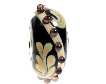Swirl Lampwork Dot Glass Bead - 925 Sterling Silver Interior Slide On Bead For European Style Snake Chain Charm Bracelets - Save on More