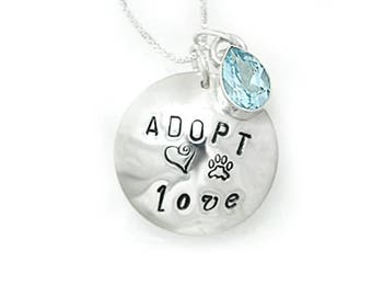 ADOPT LOVE Sky Blue Topaz Sterling Silver Pendant Necklace Pet Adoption Jewelry