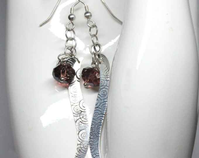 Hand Stamped Swirl Design Sterling Silver Long Earrings