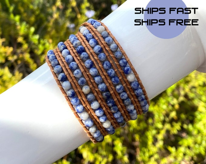 Navy Blue and White Sodalite Agate Bead 5x Wrap Bracelet on Natural Tan Leather Hand Crafted Extra Long Fits Up To Plus Size Wrists