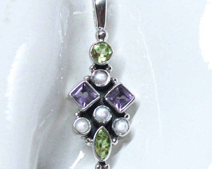 Suffragette Gemstone Pendant Necklace with Peridot, Amethyst, Pearls Sterling Silver