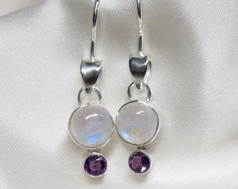 Rainbow Moonstone Earrings with Amethyst or Garnet Accent