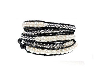 Freshwater Pearl 5x Wrap Bracelet on Quality Black Leather with Silver Beads, Adjustable Fit in Extra Long 39 inch Length