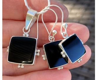 Square Black Onyx 925 Sterling Silver Earrings and Pendant Necklace Set Custom Design Hand Crafted Custom Design by Beautiful Silver Jewelry