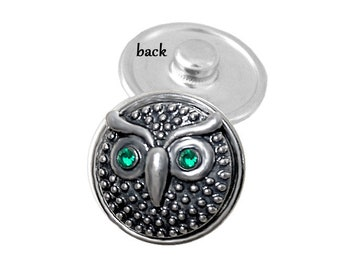 OWL SNAP button - animal snap charm - bird snap button - chunk buttons - ginger snaps - interchangeable jewelry - SNAP jewelry - snap chunk