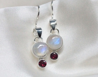Rainbow Moonstone Sterling Silver Earrings with Garnet or Amethyst Accent