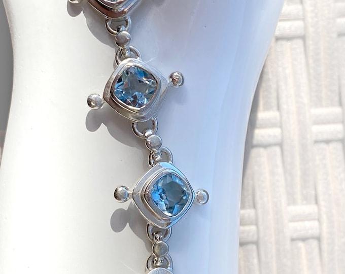 Sterling Silver Blue Topaz Gemstone Plus Size Bracelet with Nine Faceted Gemstones, January's Birthstone, Adjustable XL Size Bracelet
