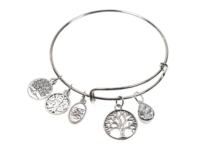 Tree of Life Bangle Bracelet with Cubic Zirconia Pear Cut Charm and Three Tree of Life Charms
