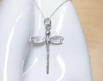 Dragonfly Pendant Necklace Sterling Silver on 18 inch link Chain jewelry women animal insect dragonflies chain gift box