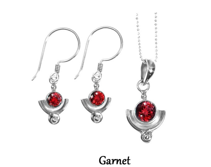 Garnet Sterling Silver Earrings. Garnet Necklace, Garnet Jewelry Set, January Birthstone Jewelry, Design by Beautiful Silver Jewelry